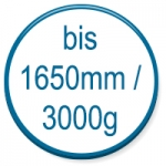 up to 1650mm/3000g