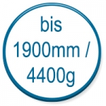 up to 1900mm/4400g